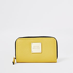 Yellow mini zip around purse