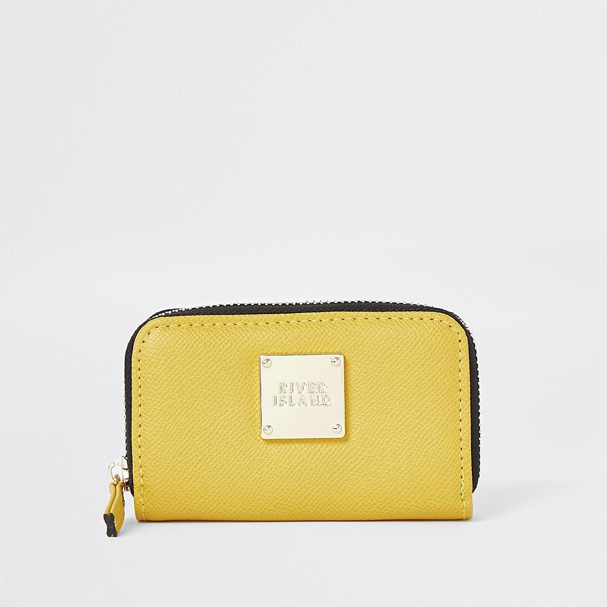 Yellow mini zip around purse