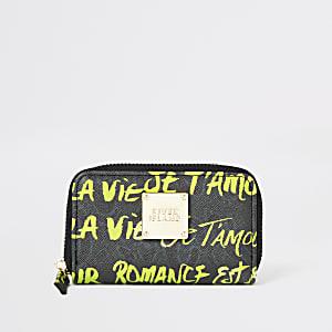 Khaki graffiti print mini zip around purse