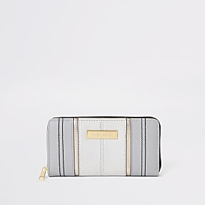 Grey zip around purse