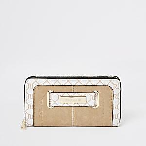 Cream RI monogram print purse