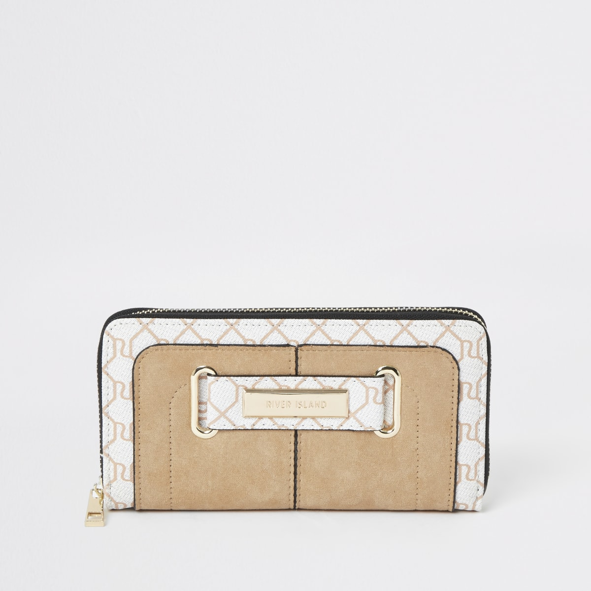 Cream RI monogram print purse