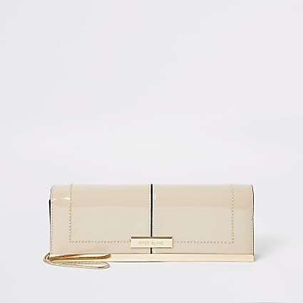 Beige patent clutch bag