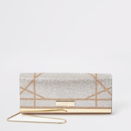 Silver diamante cutabout underarm clutch bag