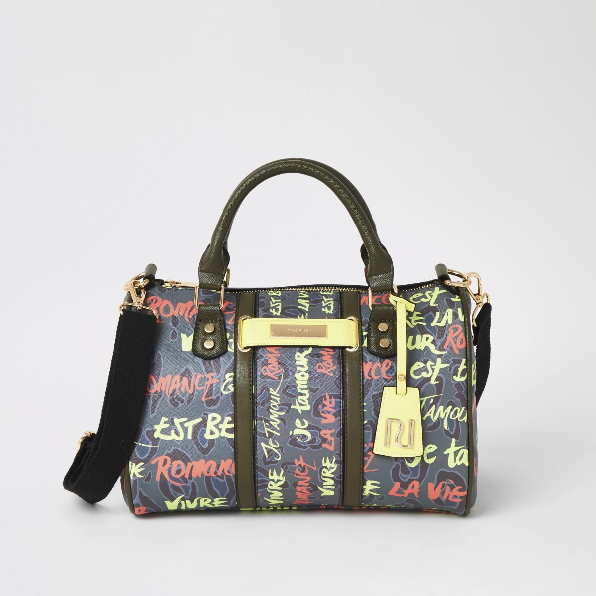 Khaki graffiti print bowler cross body bag