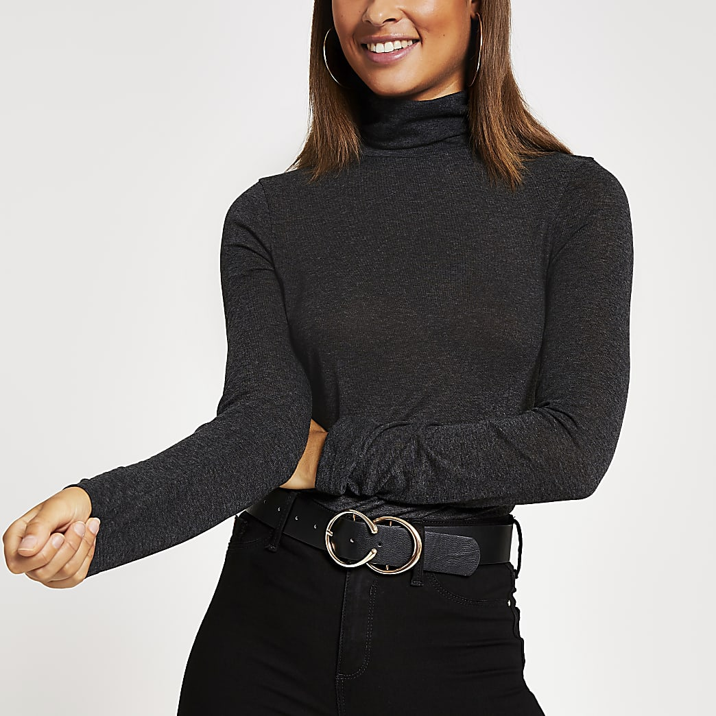 Black long sleeve roll neck fitted top