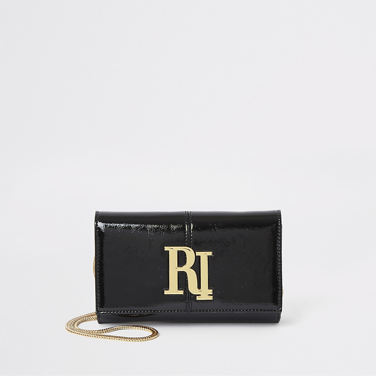 Black patent RI underarm bag