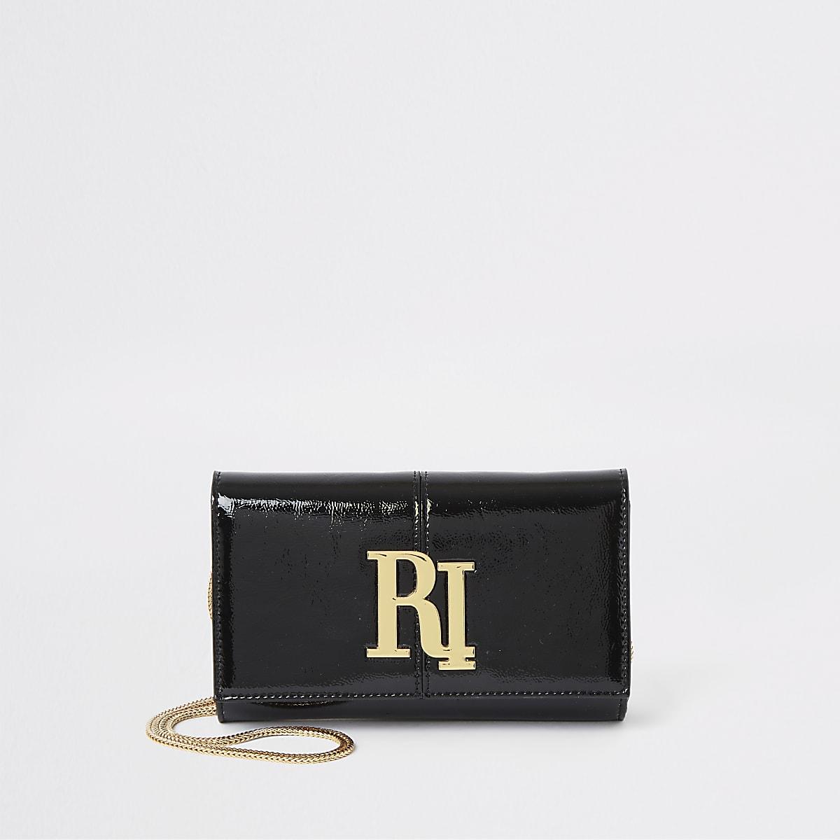 Black patent RI underarm bag