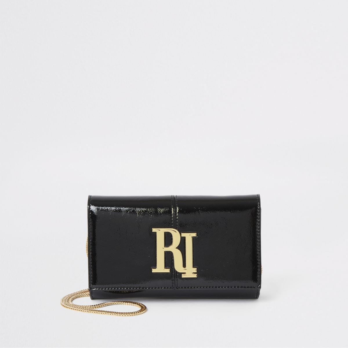 Zwarte lakleren onderarmtas met RI-logo