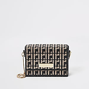 Gold RI monogram diamante min cross body bag