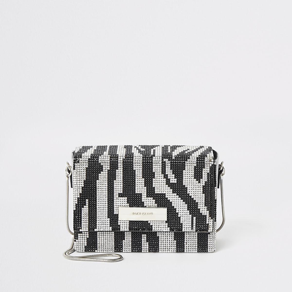 Silver zebra diamante mini cross body bag