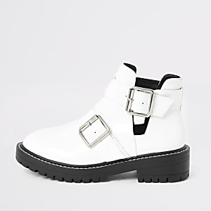White patent cut out side chunky boots