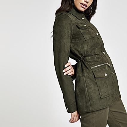 Khaki faux suede utility jacket