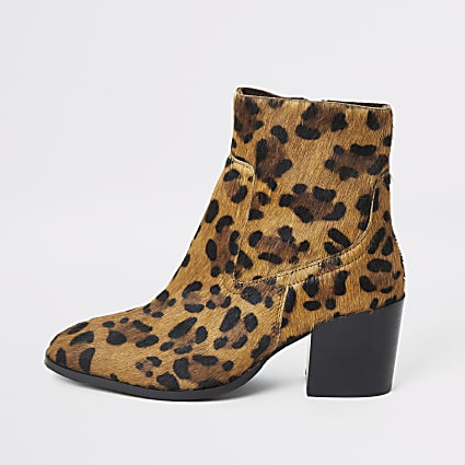 Brown animal print block heel ankle boots