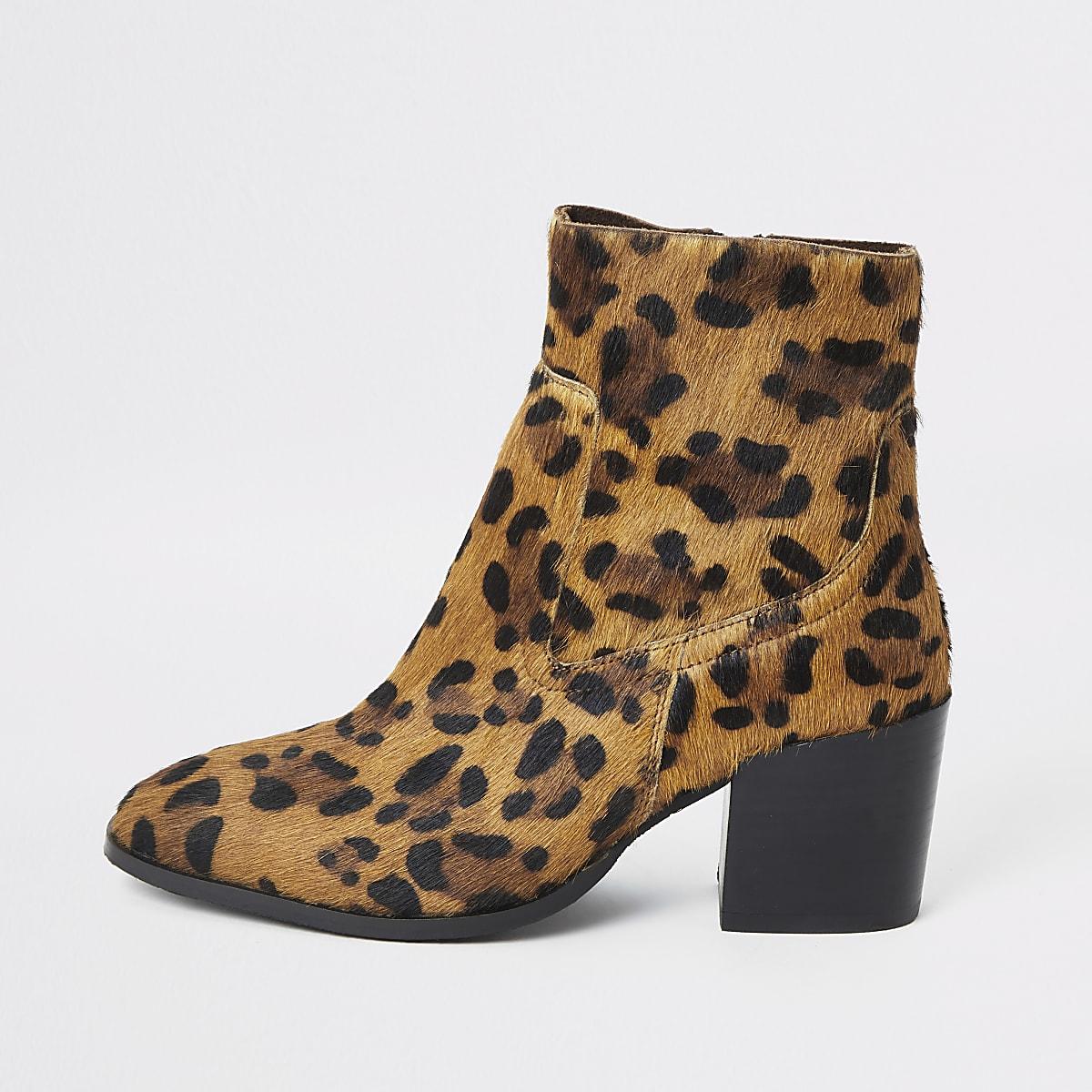 Brown animal print block heel ankle boots