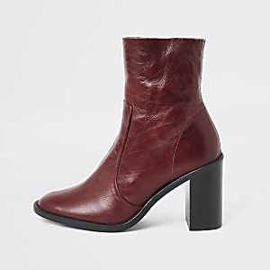 Red leather heeled sock boots
