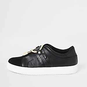 Black padlock slip on plimsoll