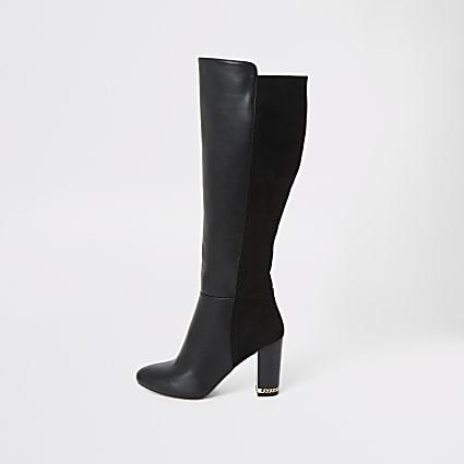 Black knee high heel boots