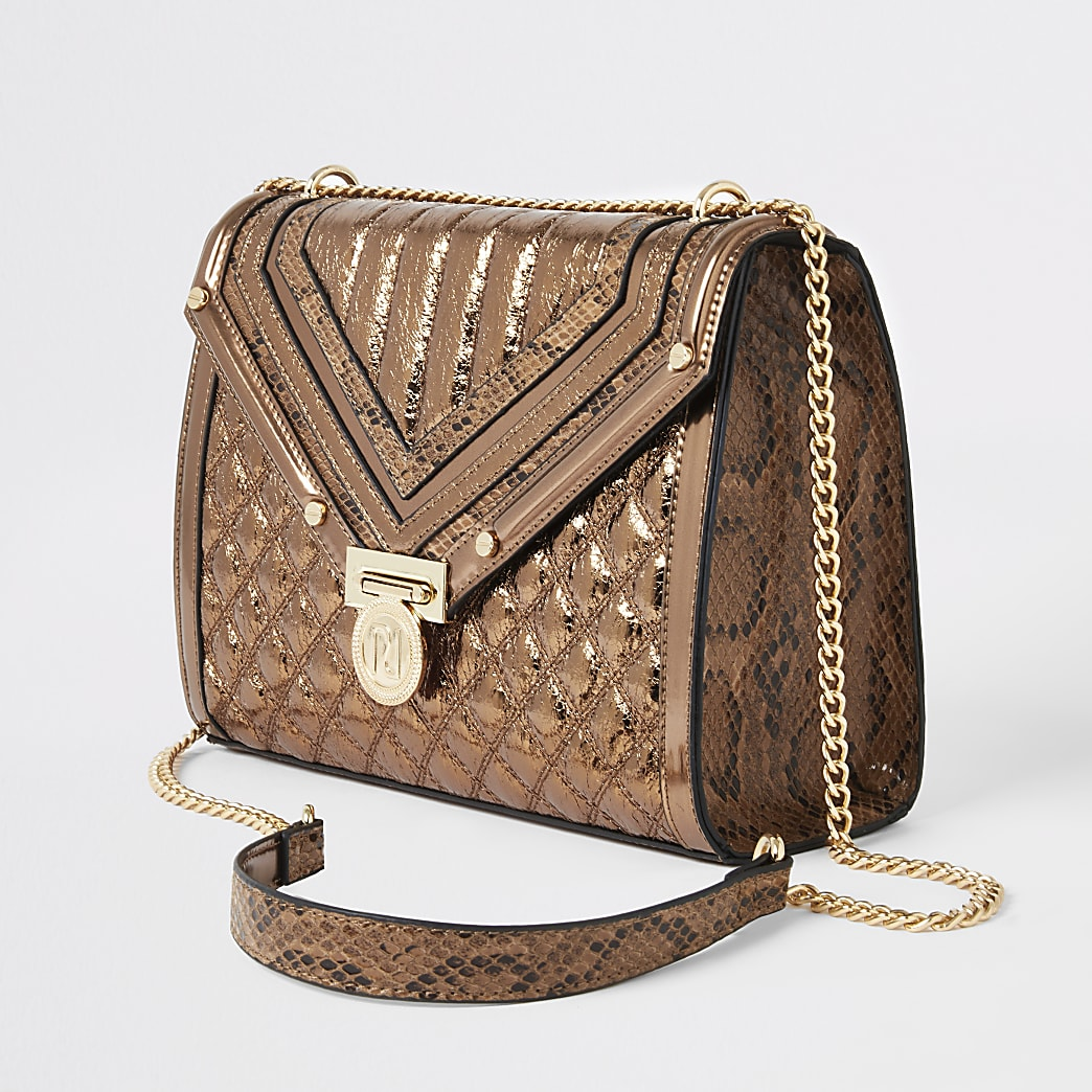 Brown metallic quilted cross body bag