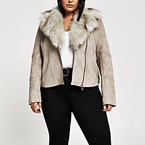 Plus beige faux fur trim biker jacket