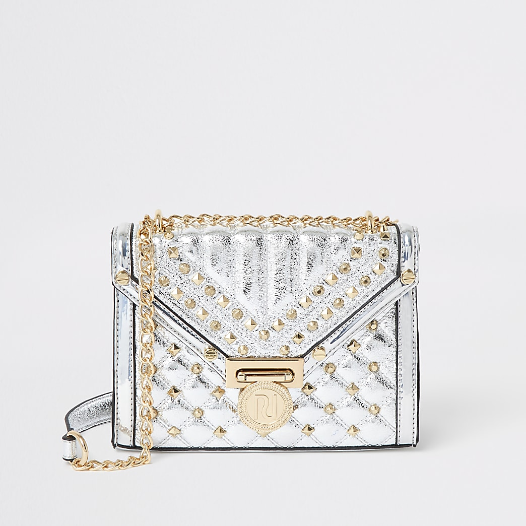 Metallic silver quilted cross body bag