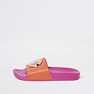 Roze slippers met RI-monogram