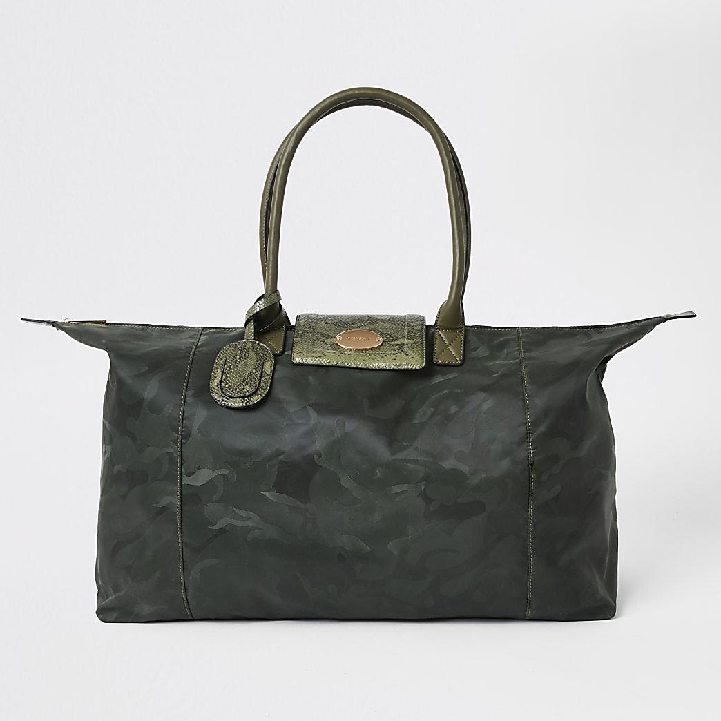 Khaki camo foldaway travel bag