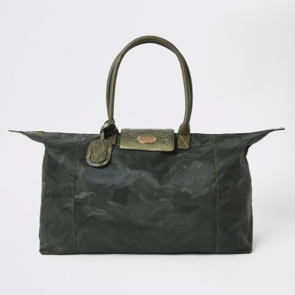 Khaki camo foldaway travel bag