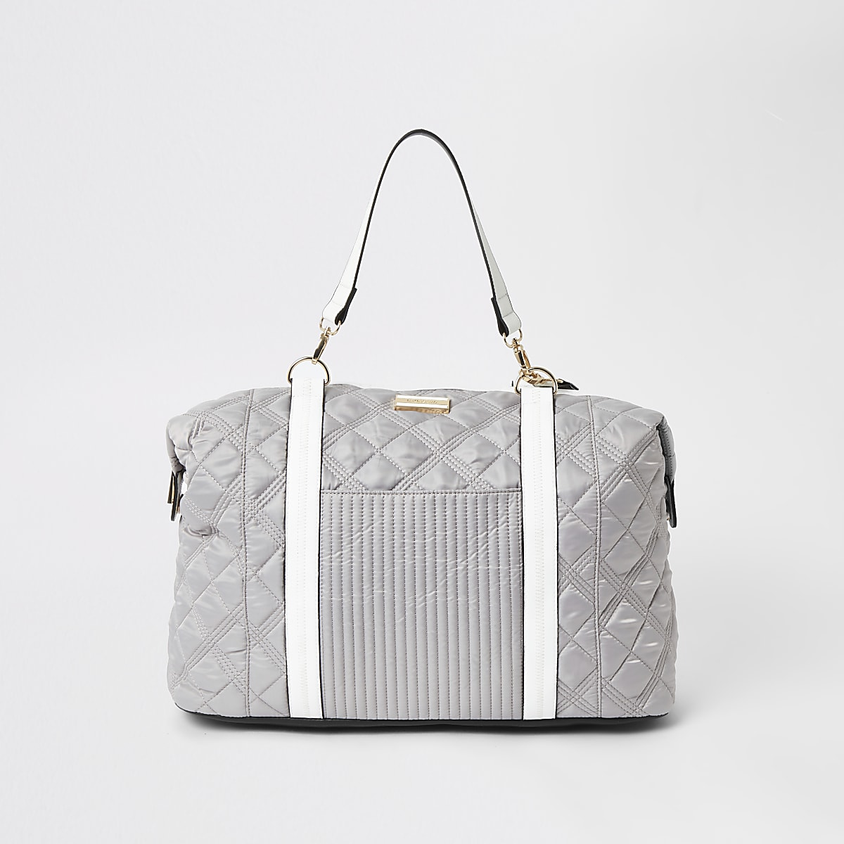 Light grey quilted weekend travel bag