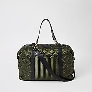 Gesteppte Reisetasche in Khaki