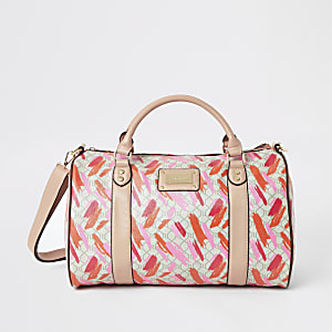 Pink RI printed weekend travel bag