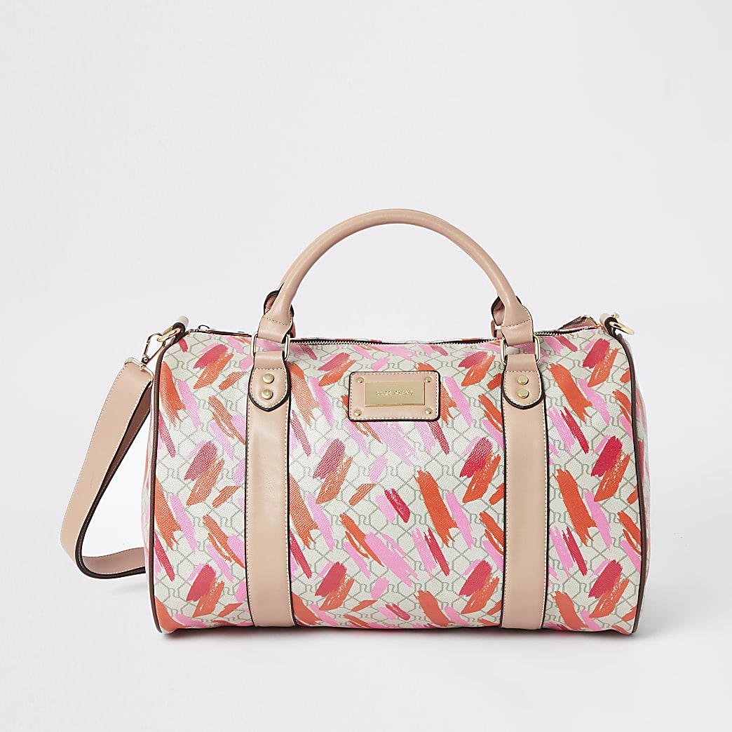 Pink RI printed weekend travel bag