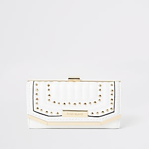 White stud embellished clip top purse