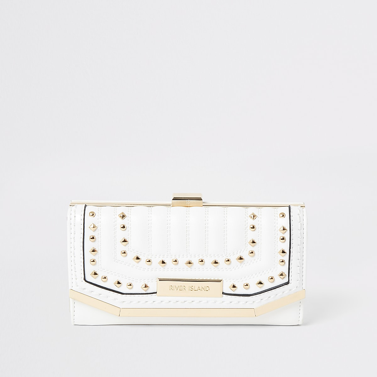 White stud embellished clip top purse