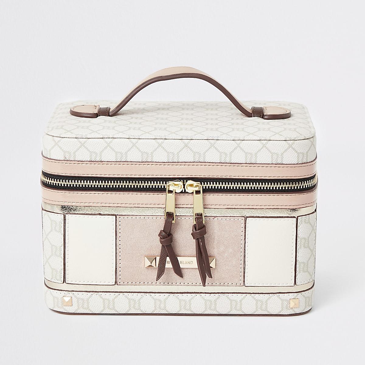 Light pink RI monogram vanity case