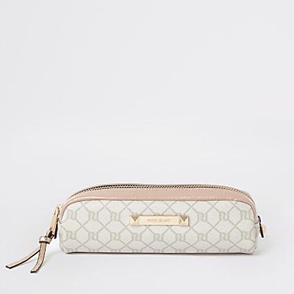 Light pink RI Monogram small makeup bag