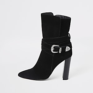 Schwarze Western-Stiefel aus Wildleder