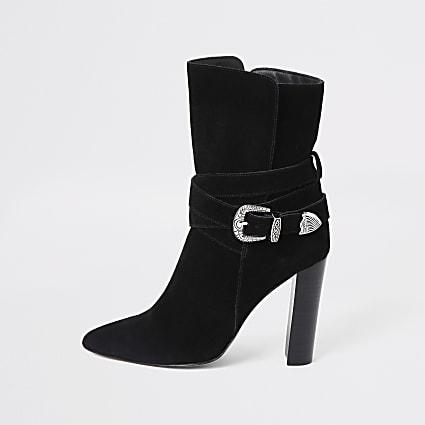 Black suede western heeled boots
