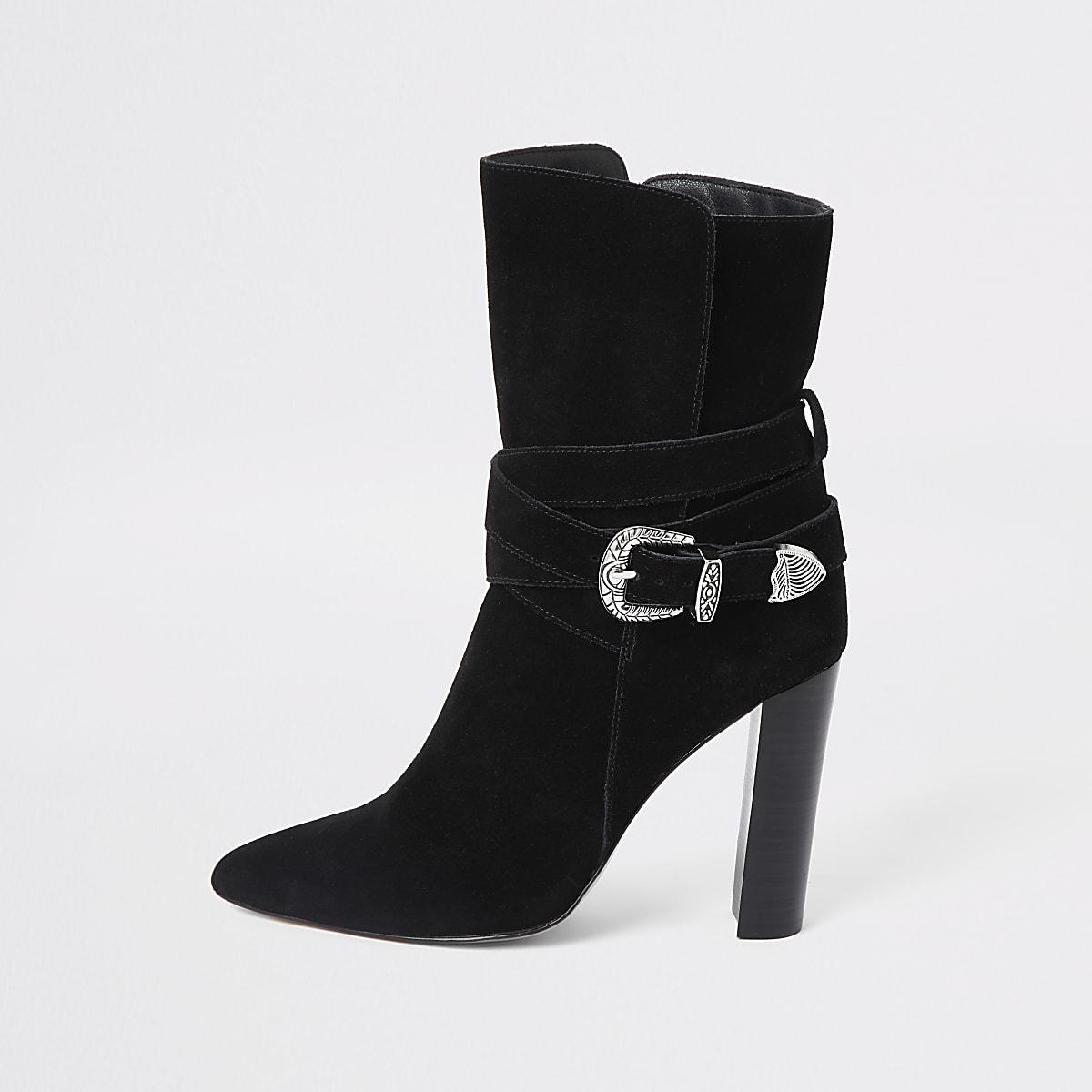 Zwarte suède laarzen met westernhak