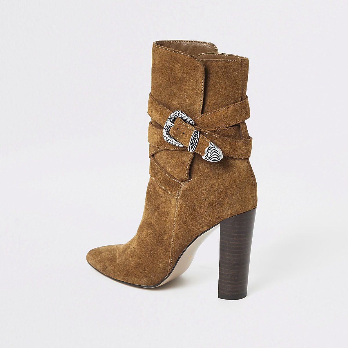 b21f9db6433 Brown suede western heeled boots
