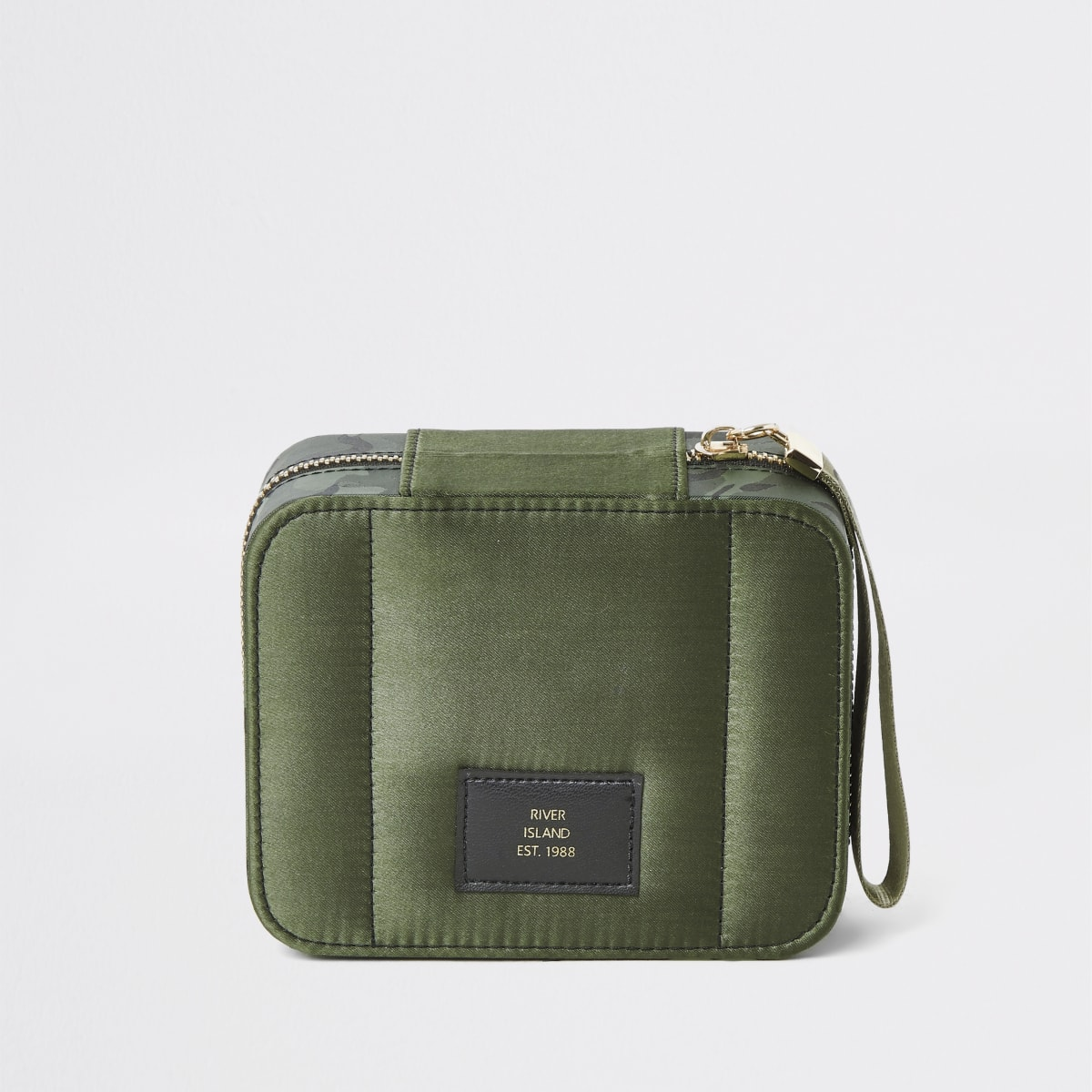 Khaki camo square satin make-up bag
