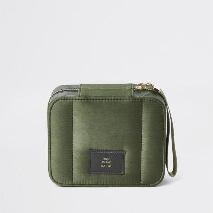 Khaki camo square satin make-up bag