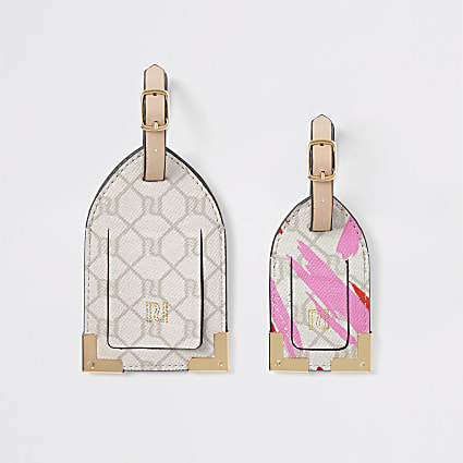 Pink RI monogram print luggage tag set