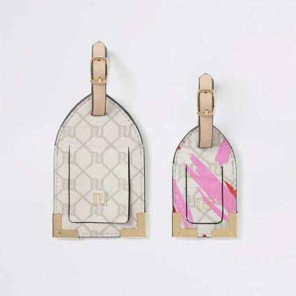 Pink RI monogram print luggage tag set