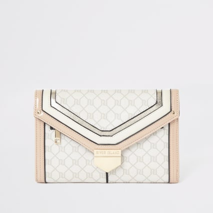 Light pink RI monogram travel wallet