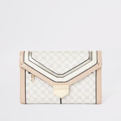 Light pink RI monogram travel wallet