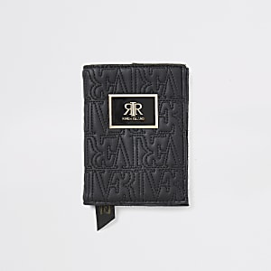 Porte-passeport noir avec logo RI en relief