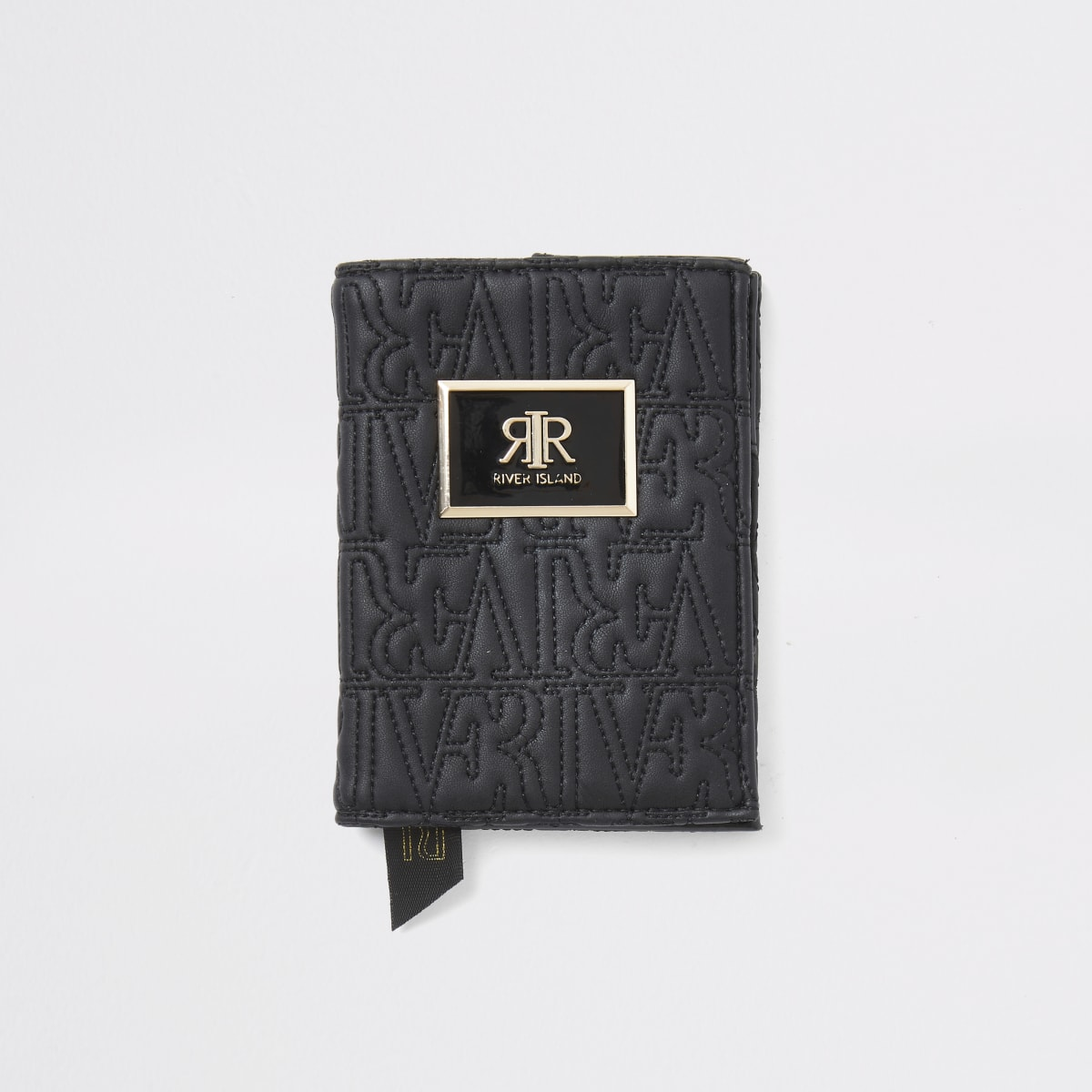 Zwarte paspoorthouder met RI-reliëf