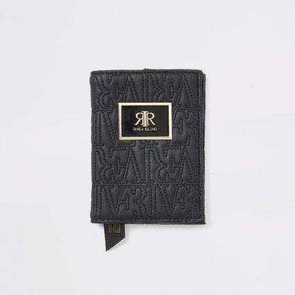Black RI embossed passport holder