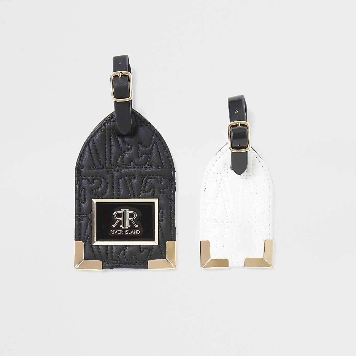 Ensemble d'étiquettes pour bagages noires mono avec logo RI en relief